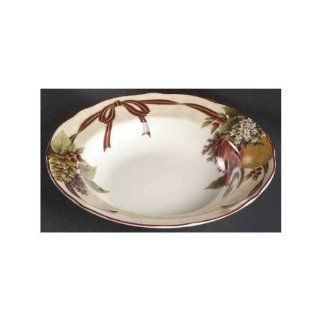 222 Fifth Fruit Christmas Yuletide Celebration Rim Soup Bowl, Set of 4 Kitchen & Dining