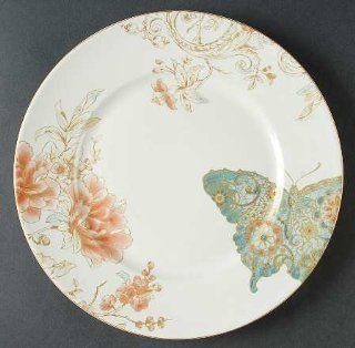222 Fifth (PTS) Zoe Butterfly Dinner Plate, Fine China Dinnerware: Kitchen & Dining
