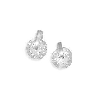6787 6mm Cz with Silver Bar Post Earrings Ear Earrings Earing Face Head Girl Woman Lady Metal Sterling Siliver 0.925