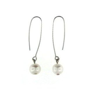 Pearl Stainless Steel Dangle Earrings: Pavel Steel: Jewelry