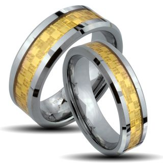 Tungsten Carbide Two tone Goldplated Checkered His and Her Wedding Band Set Men's Rings