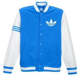 adidas Originals Fleece Varsity Jacket   Mens   Casual   Clothing   Bluebird/White