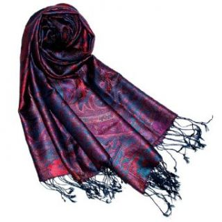 Lorenzo Cana   Italian Silk Scarf Pashmina 100% Pure Silk 29 X 75 Inches Blue Paisley   78051 at  Women�s Clothing store