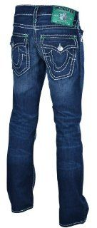 True Religion Brand Men's Ricky Super T Jeans w/Kelly Green Bartacks 34: Clothing