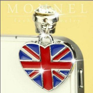 ip233 Luxury British Heart Flag Anti Dust Plug Cover Charm For iPhone 4 4S: Cell Phones & Accessories