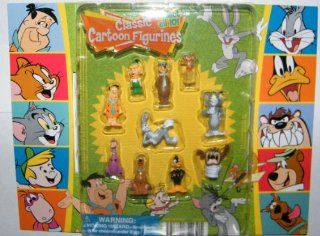 Hanna Barbera / Loony Tunes Classic Cartoon Charater Mini Figure Vending Toy Set of 10 with Tom and Jerry, Scooby Doo, Fred Flintstone, Yogi Bear, Bugs Bunny Etc with Bonus Looney Tunes Cookie Cutter!: Everything Else
