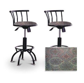 "2 24"" 29"" Native American Southwest Tapestry Seat Black Adjustable Specialty / Custom Barstools Set"
