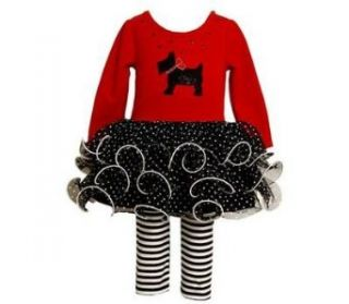 Bonnie Jean Baby Girls Scotty Dog Mesh Skirt Dress Outfit Set w/ Leggings , Red , 0 3M: Clothing