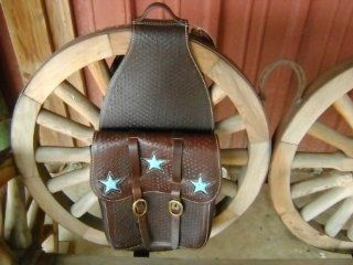 Heavy Duty Turquoise Star Leather Western Horse Saddle Bag: Everything Else