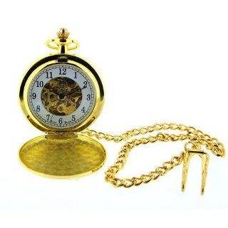 Boxx Mens Gold Tone Skeleton Mechanical Pocket Watch 12 Inch Chain Boxx243: Watches