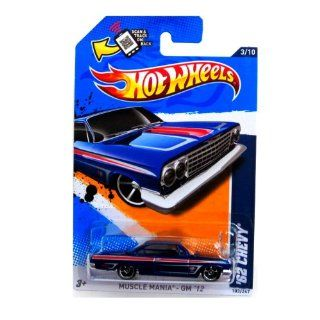 2012 Hot Wheels Muscle Mania   GM '62 Chevy Blue #103/247: Toys & Games