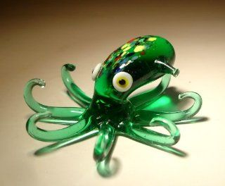 Blown Glass Art Sea Life Animal Figurine Green OCTOPUS   Collectible Figurines