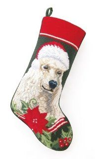 White Standard Poodle Dog with Santa Hat Christmas Stocking