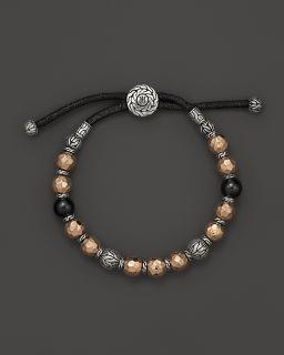 John Hardy Men's Palu Silver Batu and Bronze Bead Bracelet with Black Tourmaline's