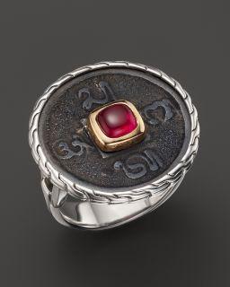 John Hardy Batu Classic Chain Gold & Silver Small Round Ring with Garnet's