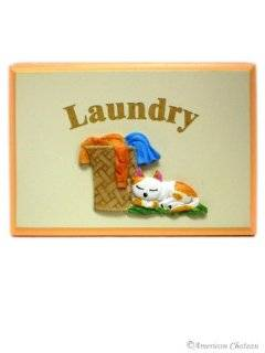 VINTAGE Laundry Room Cat in Sign Wall Door Plaque   Wall Decor For Laundry Room