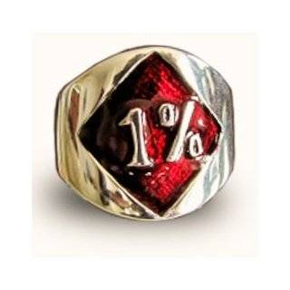 1er Outlaw Biker Ring Red Diamond Band Ring 1 Percent Bronze and Enamel: Jewelry
