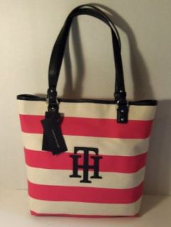 Tommy Hilfiger N/S Tote Handbag   White with Pink Stripes Shoes