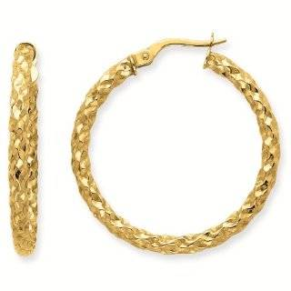 14k 2.5mm Textured Round Classic Hoop Earrings   Gold Jewelry: Reeve and Knight: Jewelry