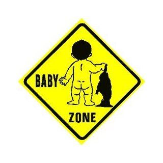 BABY ZONE CROSSING newborn gift novelty sign   Decorative Signs