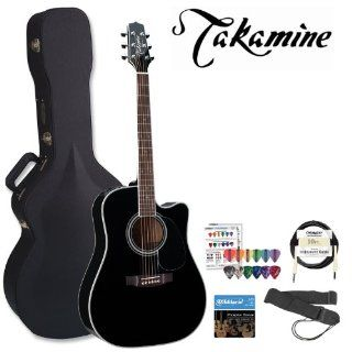 Takamine JB EF341SC Q1 KIT Pro Series Gloss Black Acoustic Electric Guitar Kit with Takamine Hard Case, Planet Waves Strap, Planet Waves Cable, DAddario EJ16 Strings and Planet Waves/GO DPS 16 Pick Sampler Musical Instruments