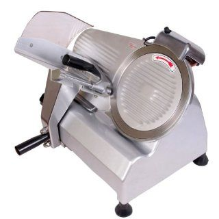 "Sanven Food and Meat Slicer Electricl Semi Automatic 10"" Blade Simple Structure Convenient to Use Ham Bread Vegetable Fruit Slicing On off Switch with Waterproof Cover for Easy Use: Kitchen & Dining"