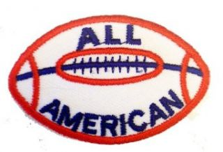 "2"" ALL American RED White Blue Football Logo Iron on Patch: Clothing"