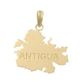14k Gold Travel Necklace Charm Pendant, Antigua Map High Polish & Engraved: Million Charms: Jewelry