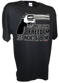 Men's Preserving Freedom .357 Inches 2nd Amendment 357 Magnum Pro Gun T Shirt: Clothing