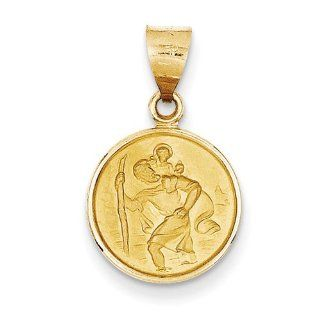 18k Yellow Gold Saint Christopher Medal Pendant. Metal Wt  1.6g: Jewelry