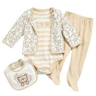 Baby Works Boys 0 9 Months Lion 4 Piece Layette Set (0/3 Months, Khaki) Clothing