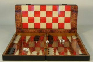 "19"" Red and Burl Wood Decoupage Backgammon: Toys & Games"