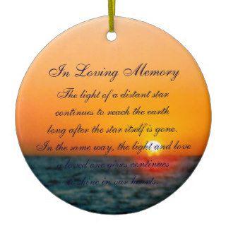 Loving Memory Pastel Ocean Sunset Death Memorial Christmas Tree Ornaments