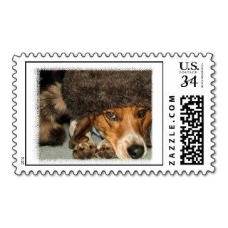"""Davy Crockett"" Beagle dog hunting postage stamps"