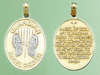 14k Gold Religious Necklace Charm Pendant, 3d Guardian Angel Prayer With Angel W: Million Charms: Jewelry