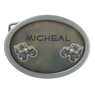 Personalized Camouflage Sport ATV Four Wheeler Oval Belt Buckles