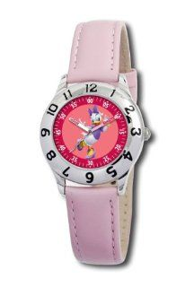Disney Kids' D037S401 Daisy Duck Time Teacher Pink Leather Strap Watch: Watches