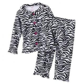 Carters Girls 2 Piece Microfleece Pajama Set, Black & White Zebra Print, Size 5 Clothing
