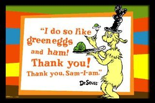 Green Eggs and Ham with quote, 20 x 30 Poster Print, Framed