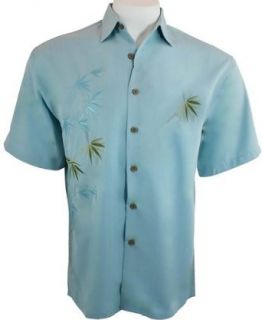 Bamboo Cay Men's Tropical Style, Button Front Shirt, Colored in Sky Blue   Flying Fauna (Small) Clothing