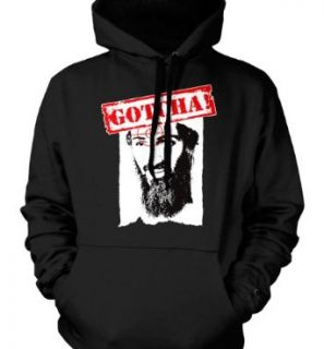 Gotcha, Osama Bin Laden DEAD Mens Sweatshirt, Osama Bin Laden Head in Crosshairs Mens Pullover Hoodie: Clothing