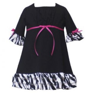 Rare Editions Toddler Girls 2T 4T BLACK WHITE ZEBRA ANIMAL PRINT TIERED RUFFLE KNIT BABYDOLL Fall School Party Dress 2T RRE 31780F F231780 Clothing