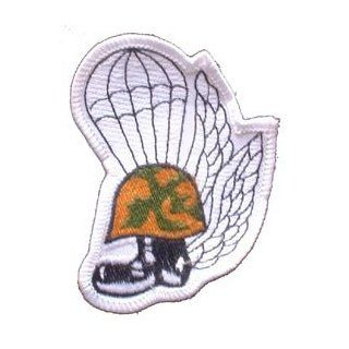 USMC Marine Corps Military Embroidered Iron On Patch   Marine Helmut w/ Boot Parachute Trooper & Wings Applique: Clothing