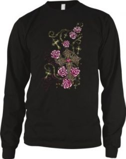 Barbed Wire Rosary Crosses Mens Tattoo Design Thermal Shirt, Cross Barbed Wire and Roses Thermal Clothing