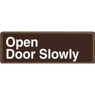"Accuform Signs PAR425 Deco Shield Acrylic Plastic Architectural Style Sign, Legend ""Open Door Slowly"" with Step Radius Edges, 9"" Width x 3"" Length x 0.135"" Thickness, White on Brown: Industrial & Scientific"
