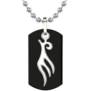 Sleek and Spellbinding: Titanium Gunmetal Finish Dog Tag Pendant with Tribal style Bird Tattoo on a Steel Ball Chain: Peora: Jewelry