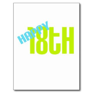 "Cute, ""Happy 18th Birthday"" Post Cards"