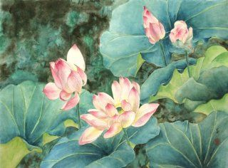 """Land of the Lotus"" Beautiful Pink Lotuses in an Oriental Painting, Giclee Print of Original Sumi e Flower Painting, 22 x 32 Inches   Watercolor Paintings"