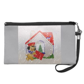 Vintage Puppy Cartoon Old Fashioned Christmas Wristlets