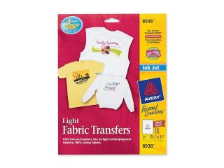 Avery Personal Creations Inkjet Light T Shirt Iron On Transfers, White, 18 Sheets/Pack